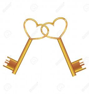 -Golden-key-opens-the-heart-Stock-Vector